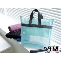 Mesh handy pouch Cosmetic Bag Portable Luggage Storage Organiser Case Pouch[Blue]